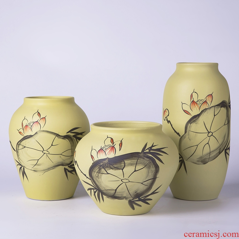 Jingdezhen ceramic vase furnishing articles three - piece contracted and I new Chinese flower arrangement sitting room adornment ornament crafts