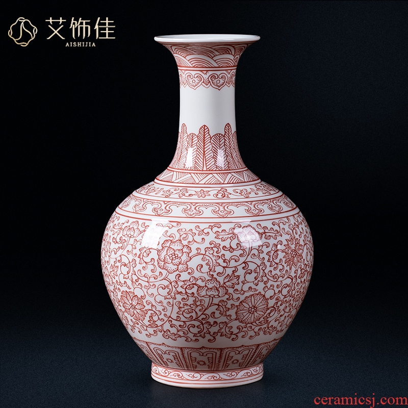 Jingdezhen ceramic antique bound branch lotus youligong vase Chinese style living room home decoration collection of TV ark, furnishing articles