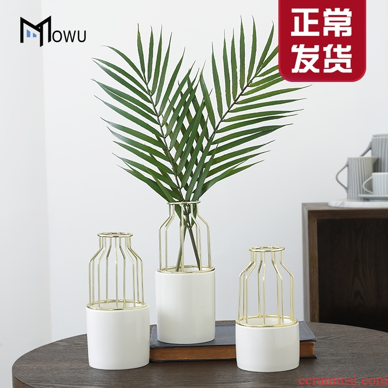 The house ins light key-2 luxury gold furnishing articles, wrought iron ceramic vase, The sitting room simulation flowers, dried flowers, flower arrangement, decoration decoration