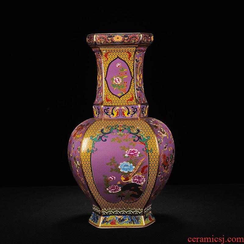 Jingdezhen ceramics imitation antique vase enamel powder enamel craft porcelain decorative furnishing articles