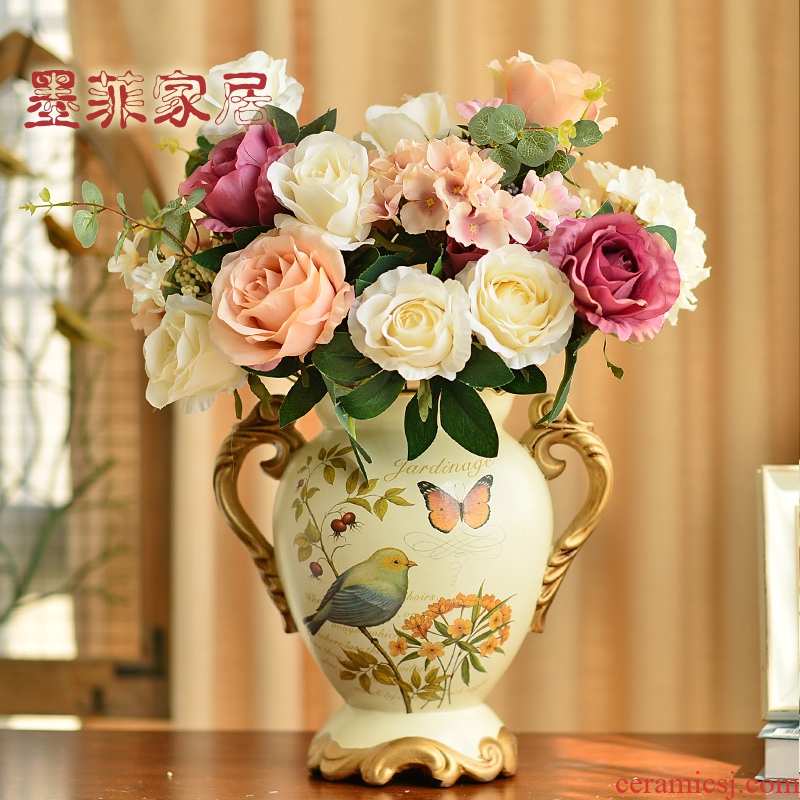 Europe type restoring ancient ways is big ceramic vase simulation flower art American TV ark, wine sitting room porch decoration flower arranging furnishing articles