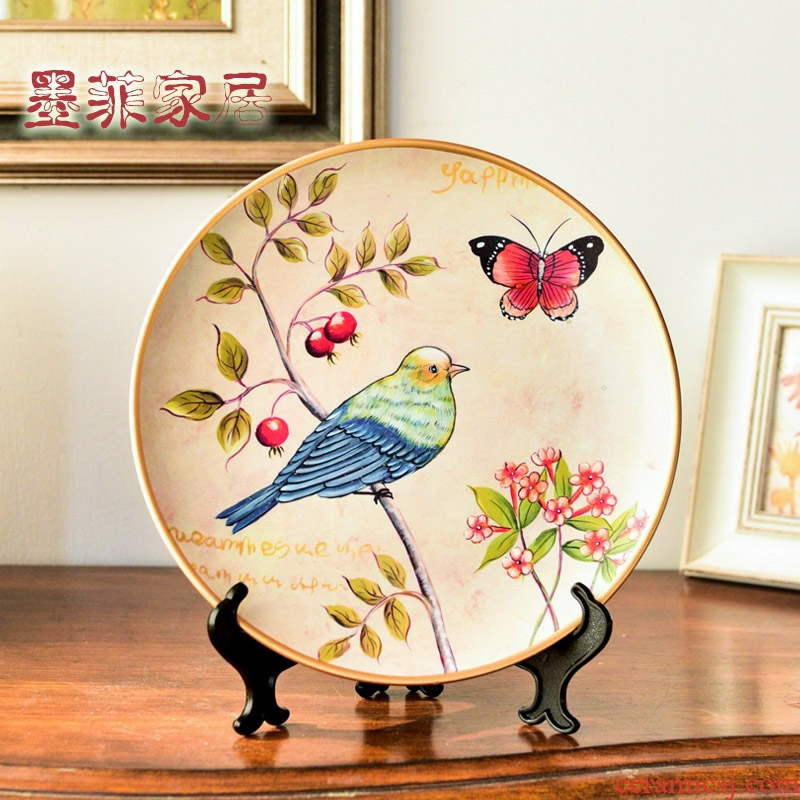Chinese style restoring ancient ways American ceramic plate furnishing articles household decorates sitting room European - style decoration sat dish rich ancient frame handicraft