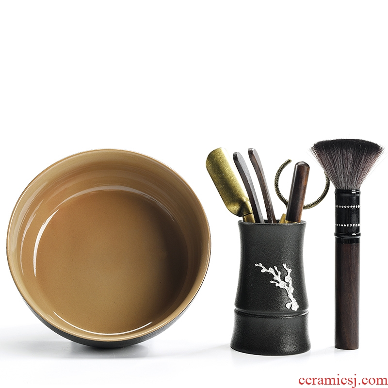 Black pottery with silver tea six gentleman 's suit kung fu tea tea tea tool knife ChaGa YangHuBi tea tray was furnishing articles