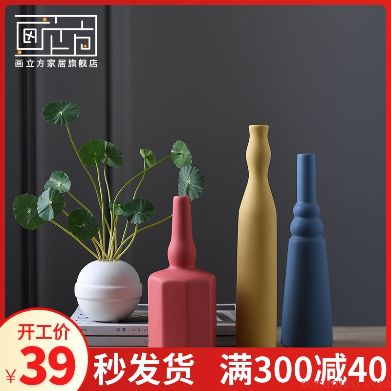 The Nordic ins small pure and fresh and ceramic vases, dry flower is placed between example soft adornment of I sitting room decoration arranging flowers