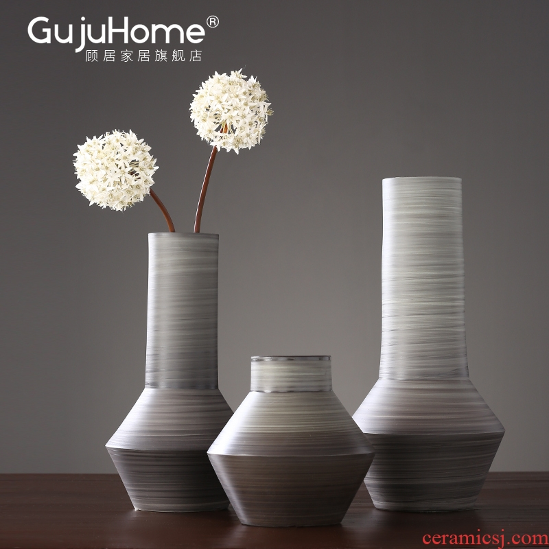 New Chinese style manual ceramic vase furnishing articles creative home sitting room put the dried flower implement porch TV ark, adornment