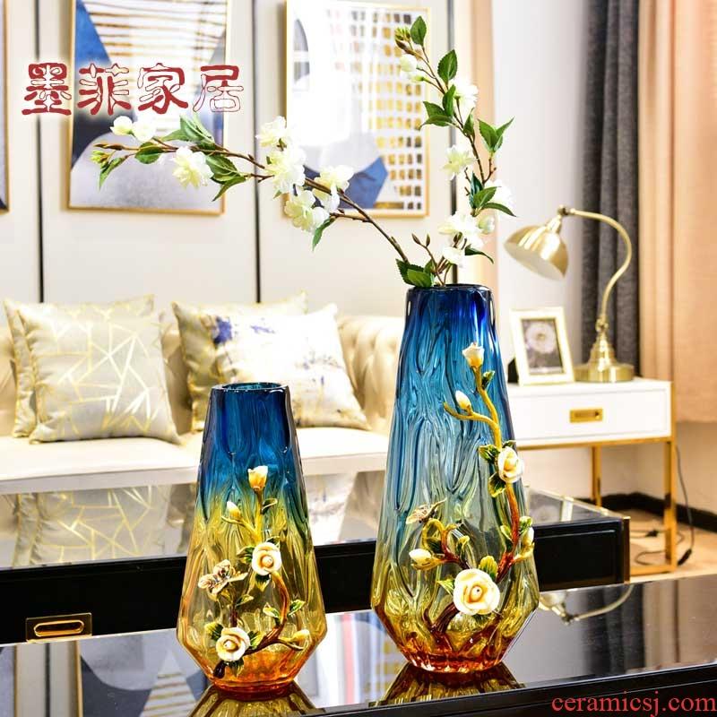 Enamel furnishing articles home decoration light Enamel porcelain decoration in the sitting room key-2 luxury big vase example room key-2 luxury decoration art