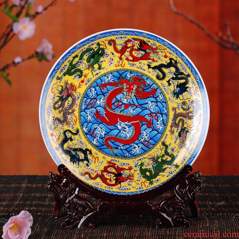 Jingdezhen ceramics furnishing articles hanging dish sitting room decoration plate of blue and white porcelain enamel household crafts