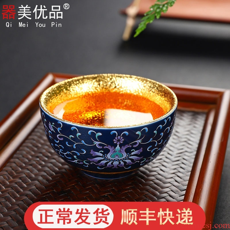 Implement the optimal product of jingdezhen blue and white porcelain kung fu tea cups and gold sample tea cup personal master cup bowl mix