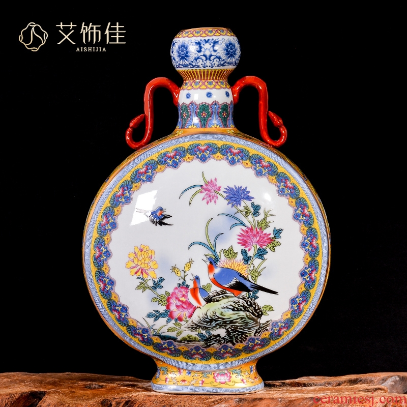 Jingdezhen ceramics vase archaize colored enamel flower arranging Chinese rich ancient frame decorate the sitting room porch place restoring ancient ways