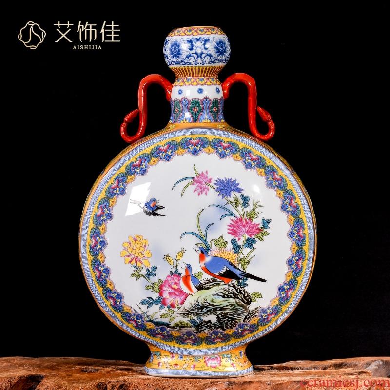 Jingdezhen ceramics vase archaize colored enamel flower arranging Chinese rich ancient frame decorate the sitting room porch place restoring ancient ways