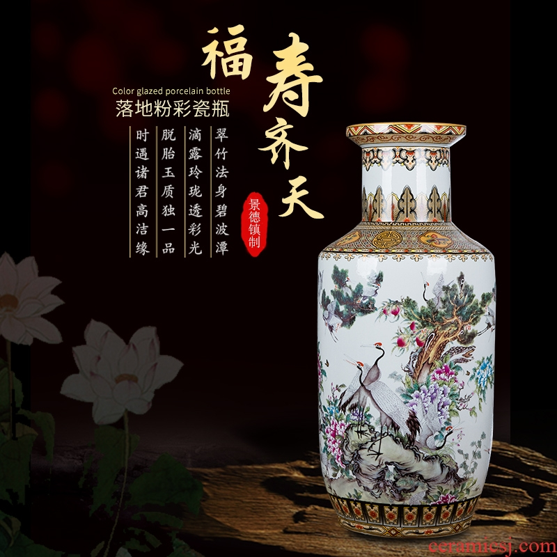 Large Chinese jingdezhen ceramics vase pastel landing big sitting room adornment TV ark, vase furnishing articles