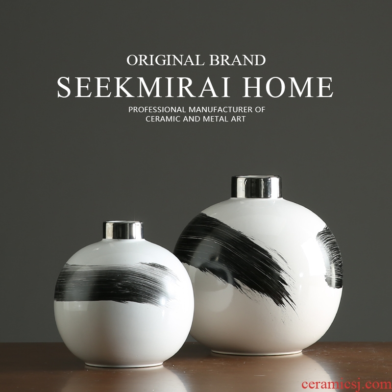 Nordic contracted small expressions using ball vase Chinese ink painting vases, pottery flower arranging example room living room table furnishing articles