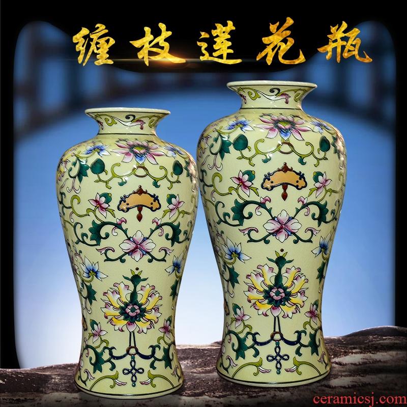Jingdezhen ceramics bound branch lotus bottle of flower arranging dried flowers home furnishing articles sitting room decorates porch decoration TV ark