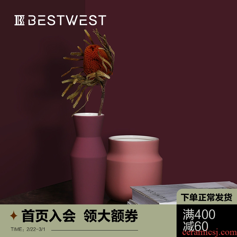 BEST WEST light key-2 luxury ceramic vase furnishing articles dry flower vase example room sitting room exhibition hall decoration ideas