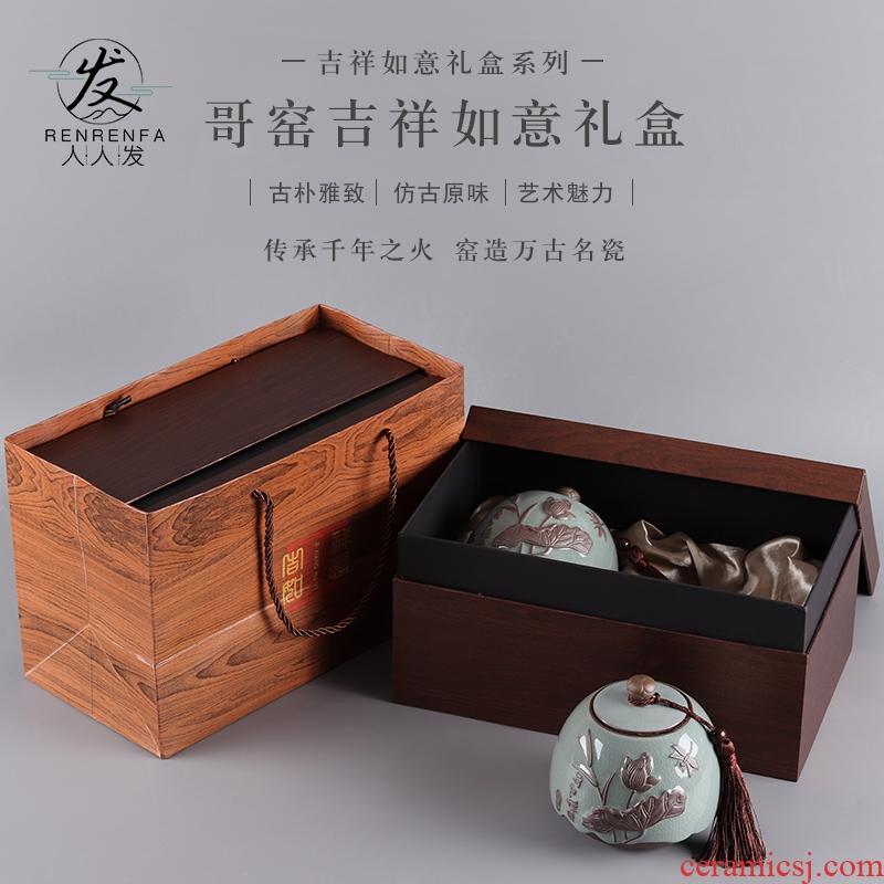 Ceramic tea pot seal tank storage jar large tea jixiangruyi empty box packing double pot customization