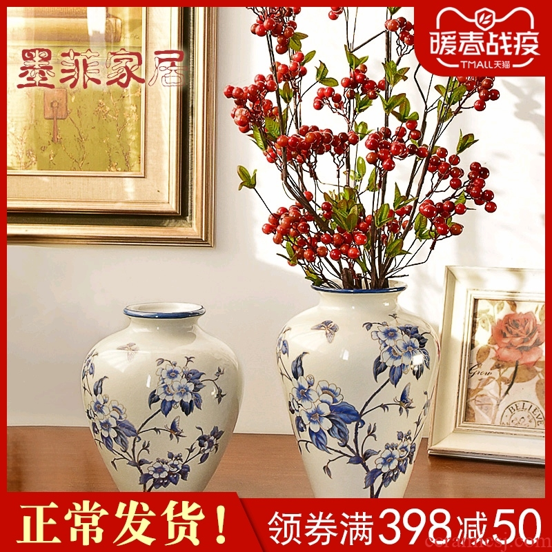 The New Chinese blue and white porcelain vase furnishing articles flower arranging living room TV cabinet table wine porch home decoration decoration