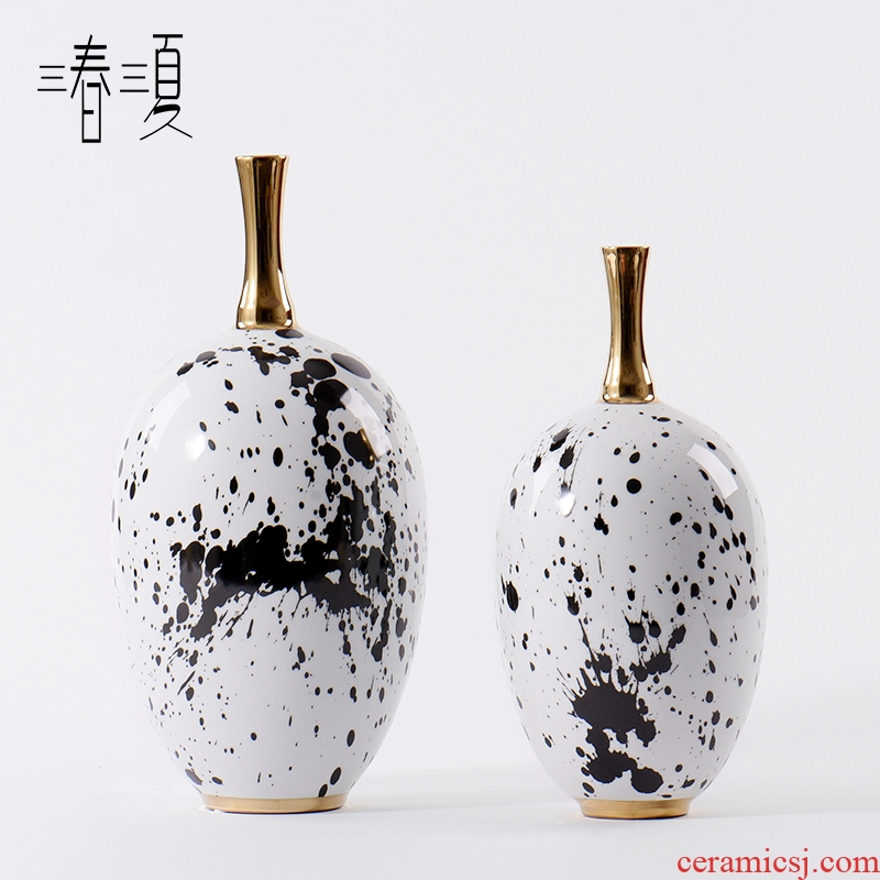 New Chinese style postmodern, black and white ink pen grain storage tank simulation flower, flower arranging, the sitting room porch ceramic vases, furnishing articles