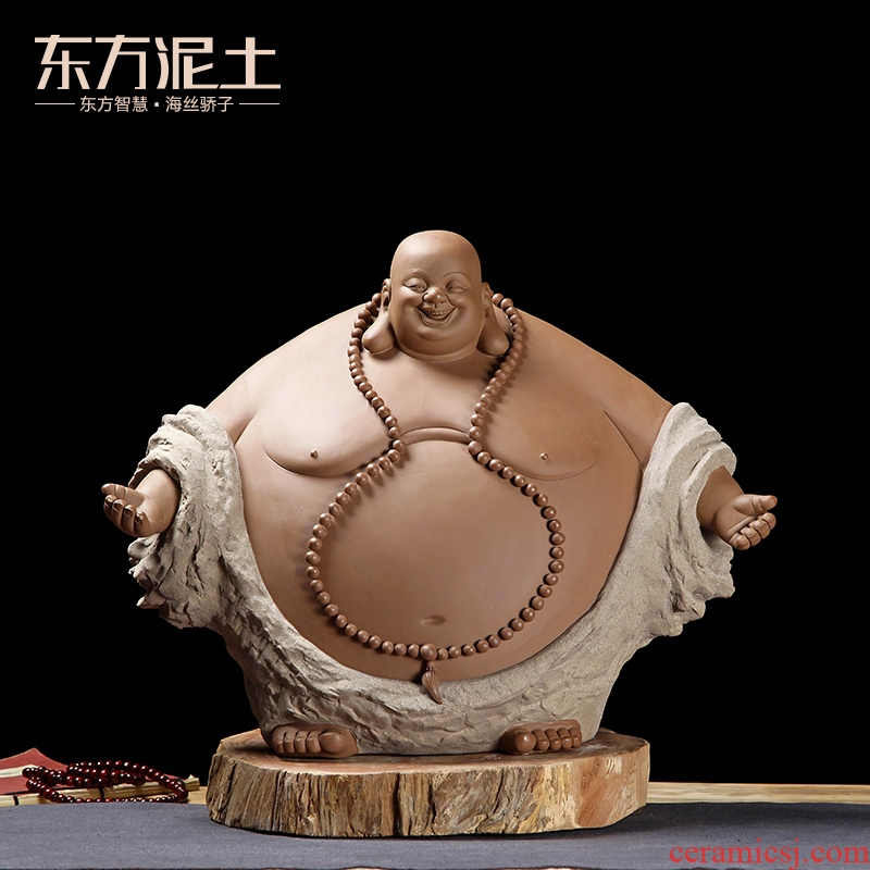 Oriental clay ceramic maitreya furnishing articles its art porch decoration/happy life old old D40-12 c