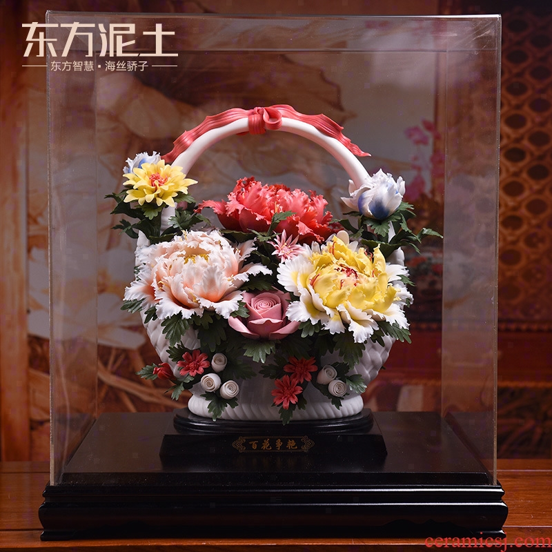 Oriental traditional clay ceramic flower dehua porcelain its art sitting room adornment is placed/flowers bloom