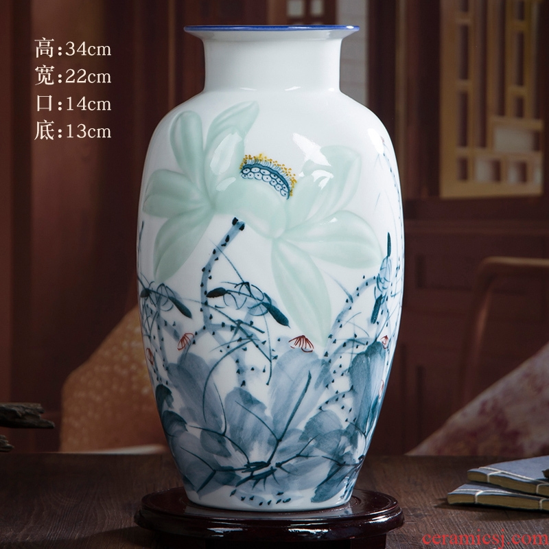 Jingdezhen hand - made ceramic porcelain vase furnishing articles hand - made lotus flower arranging the modern Chinese style living room sitting room adornment