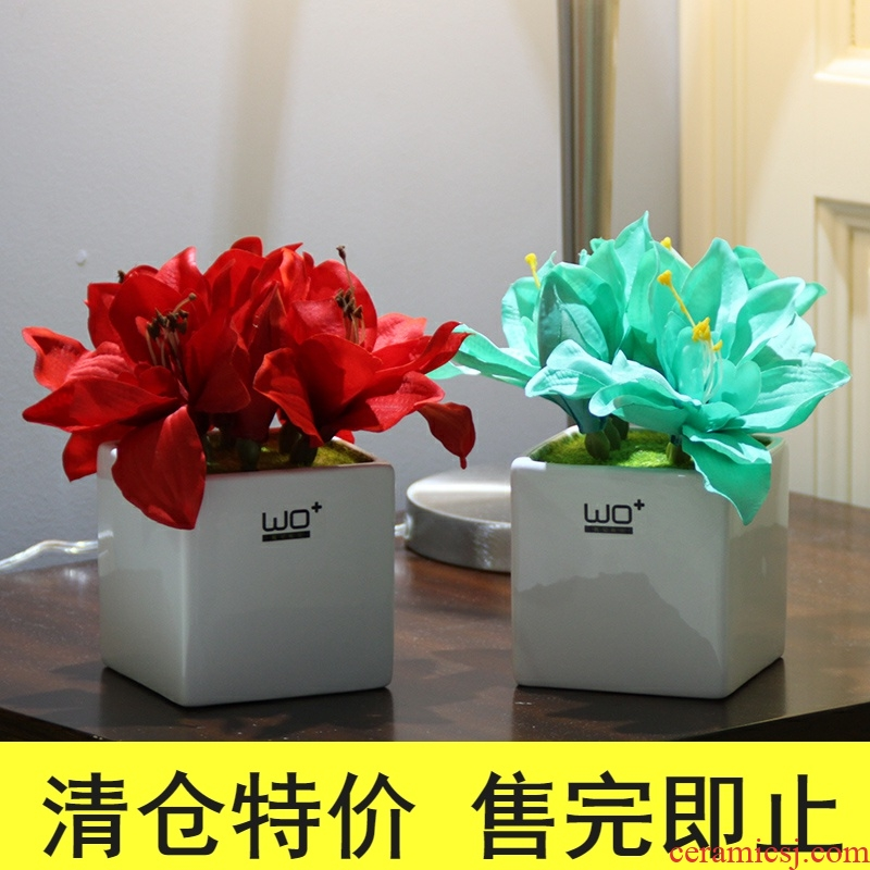 The Send + simulation flowers, artificial flowers, ceramic vase peony clivia suit floral decoration household act the role ofing is tasted silk flowers