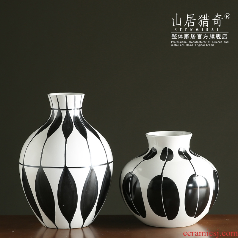 Modern European household ceramics Jane black and white vase furnishing articles sitting room TV cabinet table decoration creative flower arranging flowers