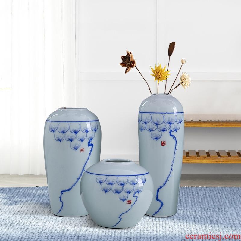 Jingdezhen blue lotus antique ceramic vase contracted tea table desktop furnishing articles ornament porcelain flower vase