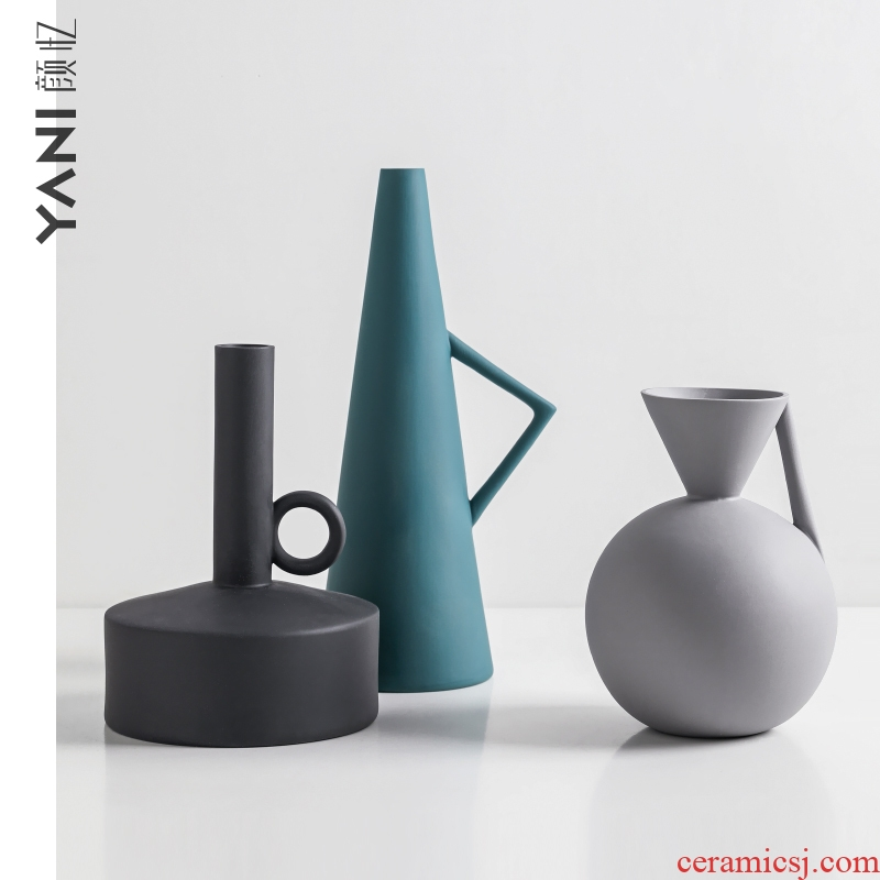 Ceramic vase furnishing articles Nordic ins morandi, arranging flowers, flower implement example room space soft outfit porch furnishings