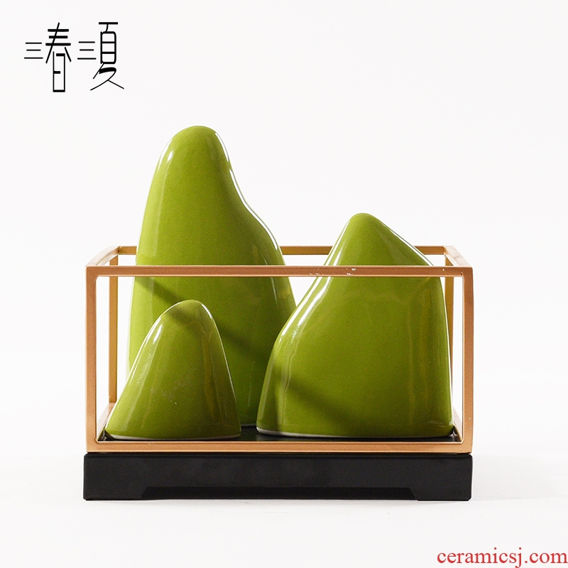 New Chinese style originality rockery green ceramic furnishing articles in porch place hotel living room TV ark, soft decoration