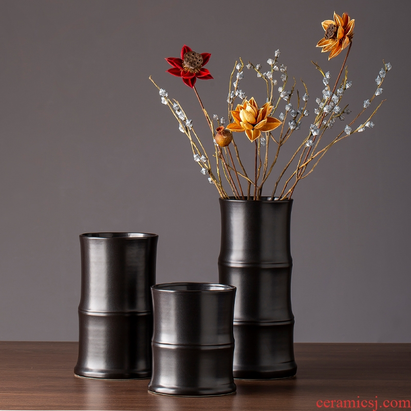 2019 new black ceramic vase zen contracted and I sitting room TV ark of desk creative furnishing articles do the vase