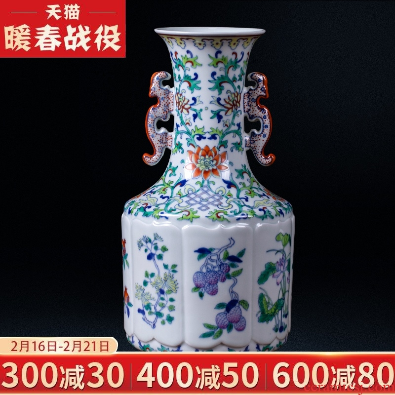 Jingdezhen ceramic vases, antique color bucket ears porcelain vase Chinese style living room porch TV ark adornment furnishing articles