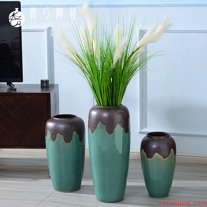 Lou qiao simulation flower furnishing articles sitting room be born by the large continental vases, ceramic creative TV ark, flower decoration