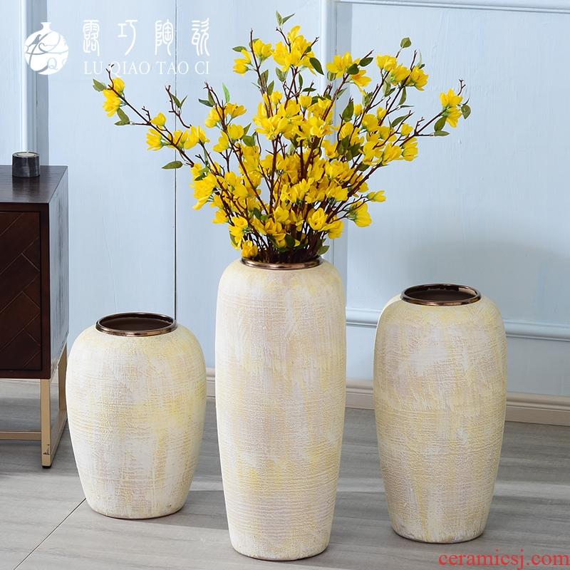 Working smart flower ceramic vase Nordic retro furnishing articles sitting room flower arranging ground TV ark, creative home decorations