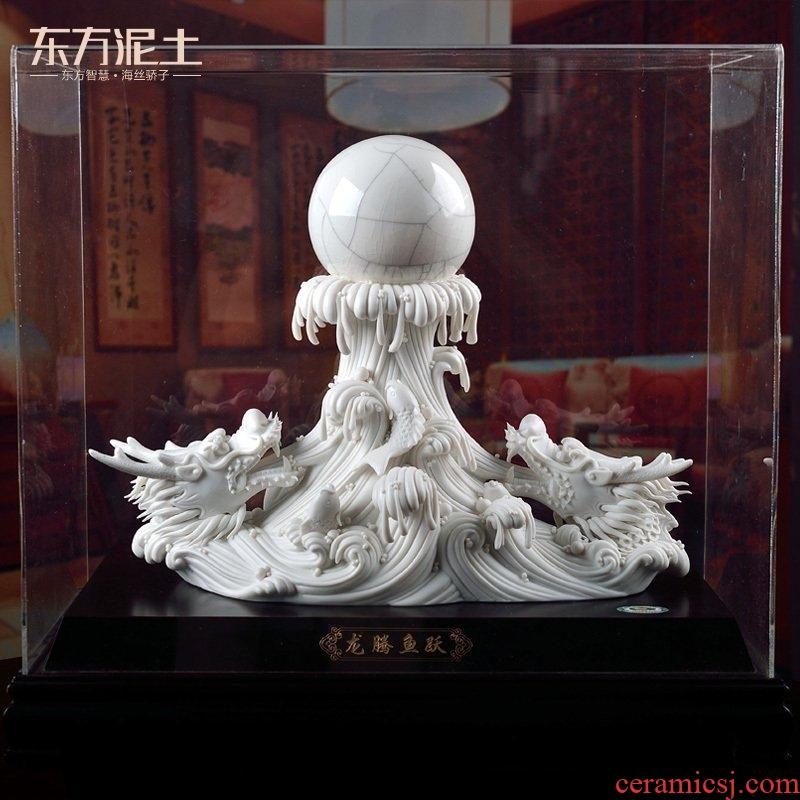 The east mud dehua white porcelain porcelain carving art crafts ceramics home furnishing articles/longteng diving D02-50