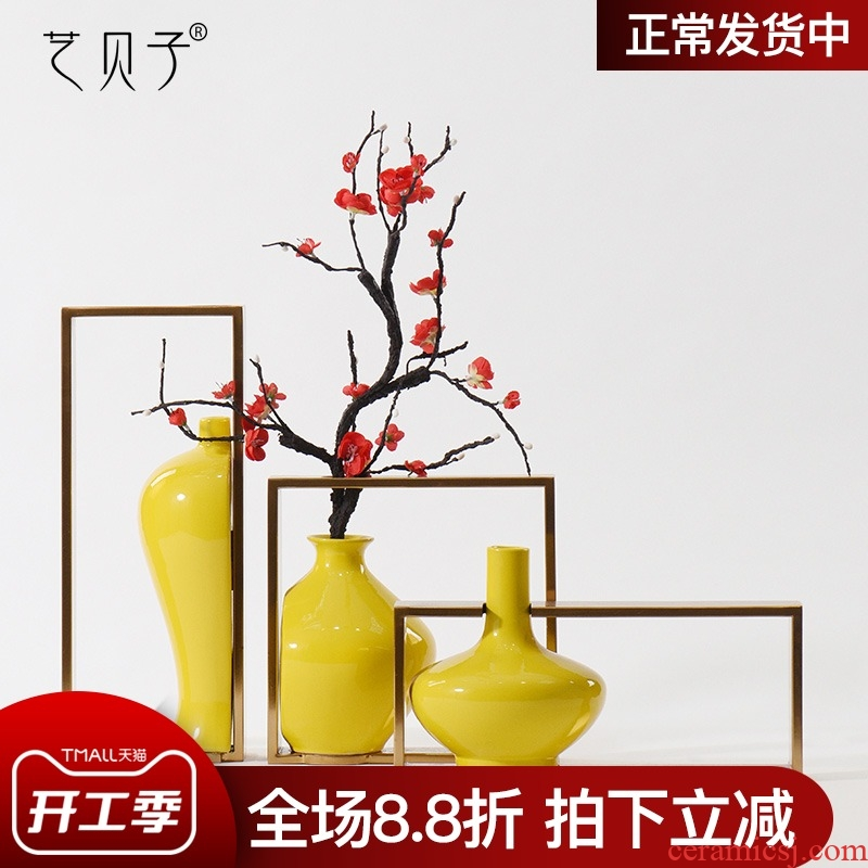 Light art BeiZi key-2 luxury metal ceramic vase soft outfit desktop furnishing articles I and contracted sitting room tea table decoration decoration