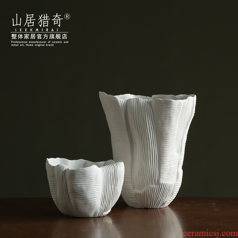 Nordic contracted and pure white ceramic vase furnishing articles sitting room adornment of large diameter table dry flower biscuit firing a flower pot