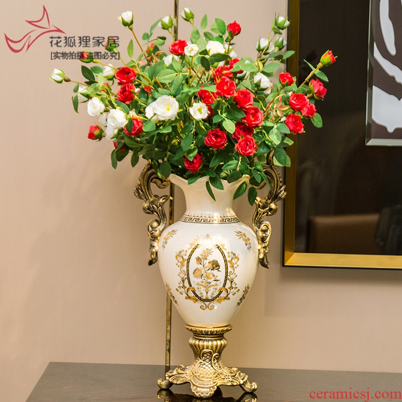 Light modern European - style key-2 luxury ceramic vases, flower implement simulation flower arranging flower art creative American household contracted sitting room place