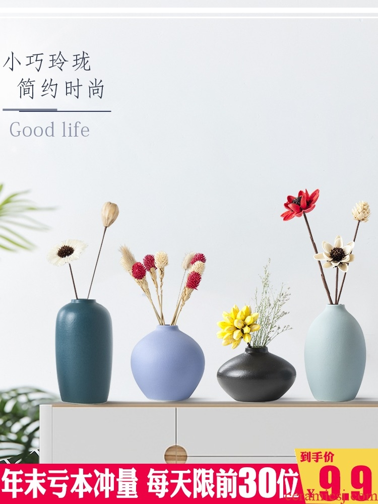 Ceramic furnishing articles dried flowers of modern home decoration simple ins wind flower arranging Nordic vase furnishing articles to the living room