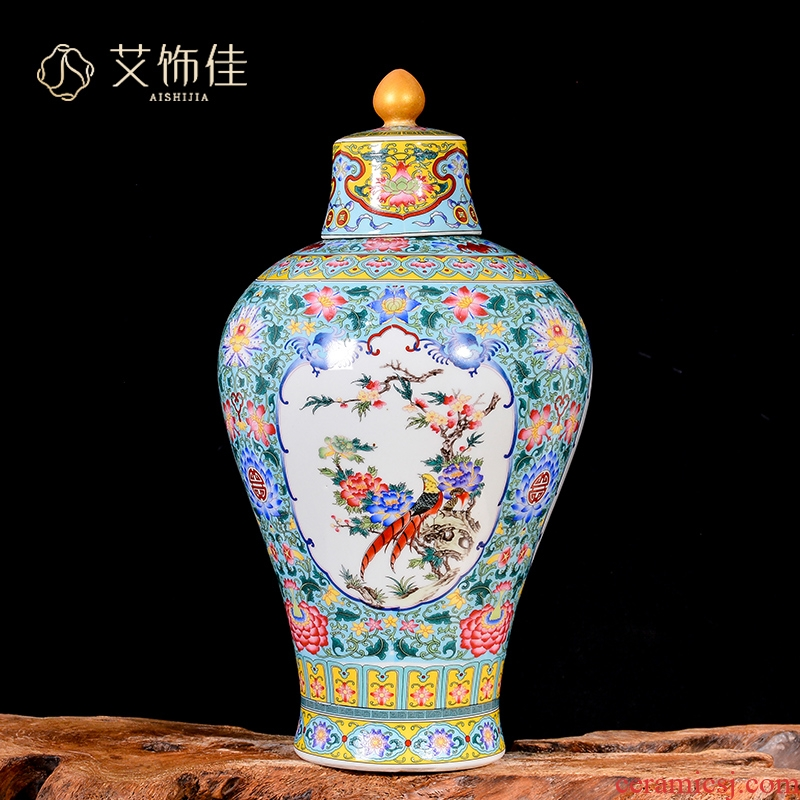 Jingdezhen porcelain qianlong vase furnishing articles household of Chinese style classical ancient frame, the sitting room porch decoration