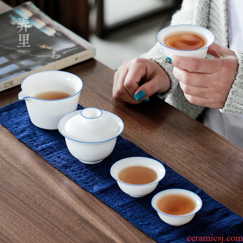 Tureen travel to crack a pot of three han white porcelain tea set kung fu suit portable package outdoors travel home