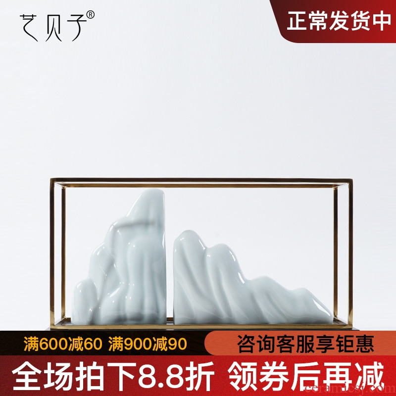Modern new Chinese style soft white ceramic sample room study abstract home furnishing articles rockery stone decorations