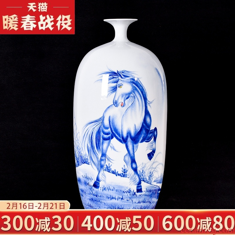 Jingdezhen ceramic vase sitting room adornment hand - made Chinese flower arranging success household handicraft collection furnishing articles