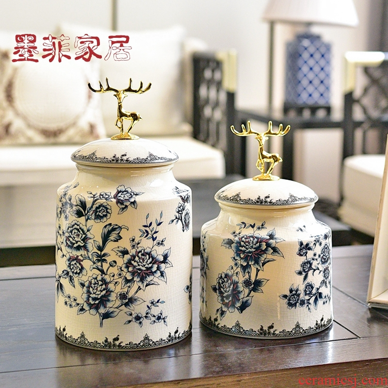 New Chinese style is light blue and white porcelain key-2 luxury furnishing articles of the sitting room TV ark, wine storage tank porch decoration home decoration