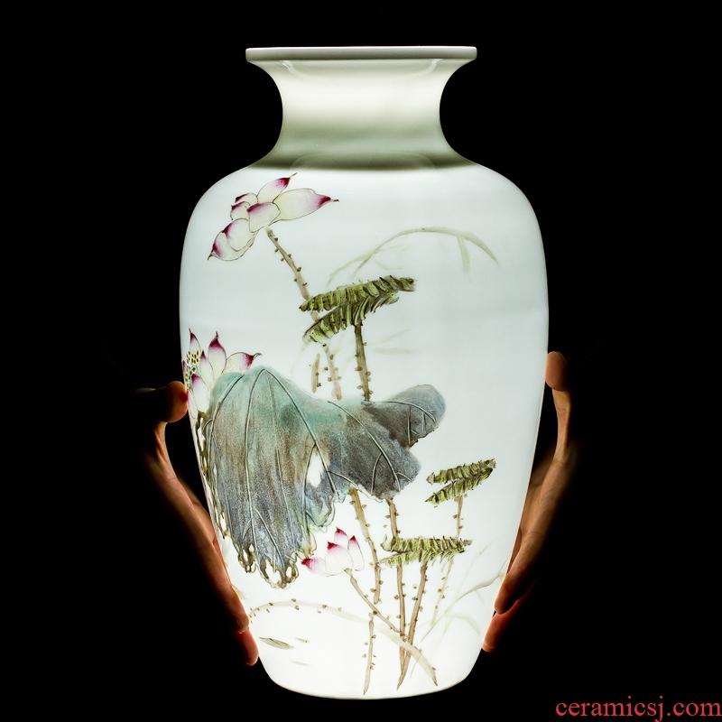 Jingdezhen ceramics, vases, flower arranging penjing masters hand made lotus decoration of Chinese style household decoration decoration