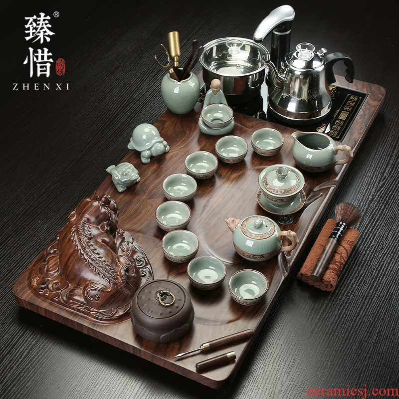 Cherish the mythical wild animal by electric magnetic furnace tea table solid wood tea tray was kung fu tea set suit household contracted ceramic tea pot