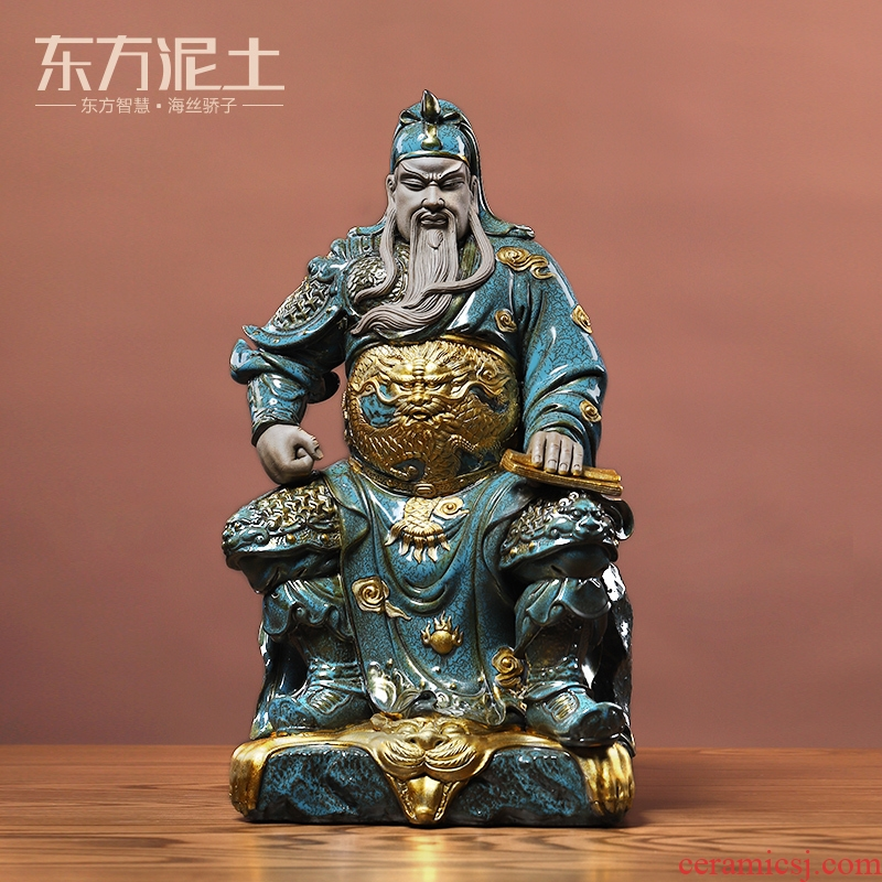 Oriental clay ceramic wen guan gong furnishing articles of new Chinese style household wine ark, adornment manual its handicraft sitting room