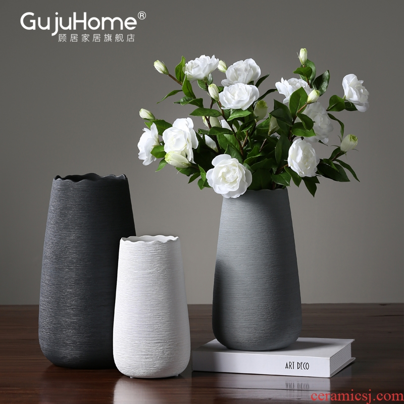 Nordic white ceramic flower vases furnishing articles sitting room of I and contracted creative dried flowers, household table decorations