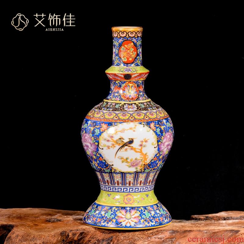 Jingdezhen ceramic vases, antique flower arranging furnishing articles of Chinese style restoring ancient ways the sitting room TV ark, household enamel decoration