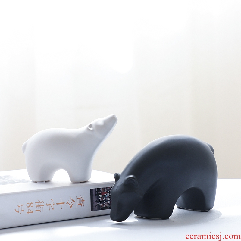 Nan sheng creative I and contracted mesa place sitting room adornment ceramics handicraft polar bear European animal