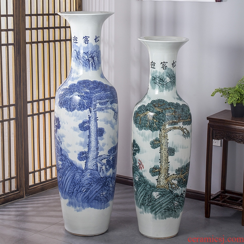 Jingdezhen ceramics of large vase manual hand - made guest - the greeting pine sitting room place flower arranging hotel opening